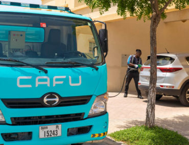 CAFU teal and grey fuel delivery truck