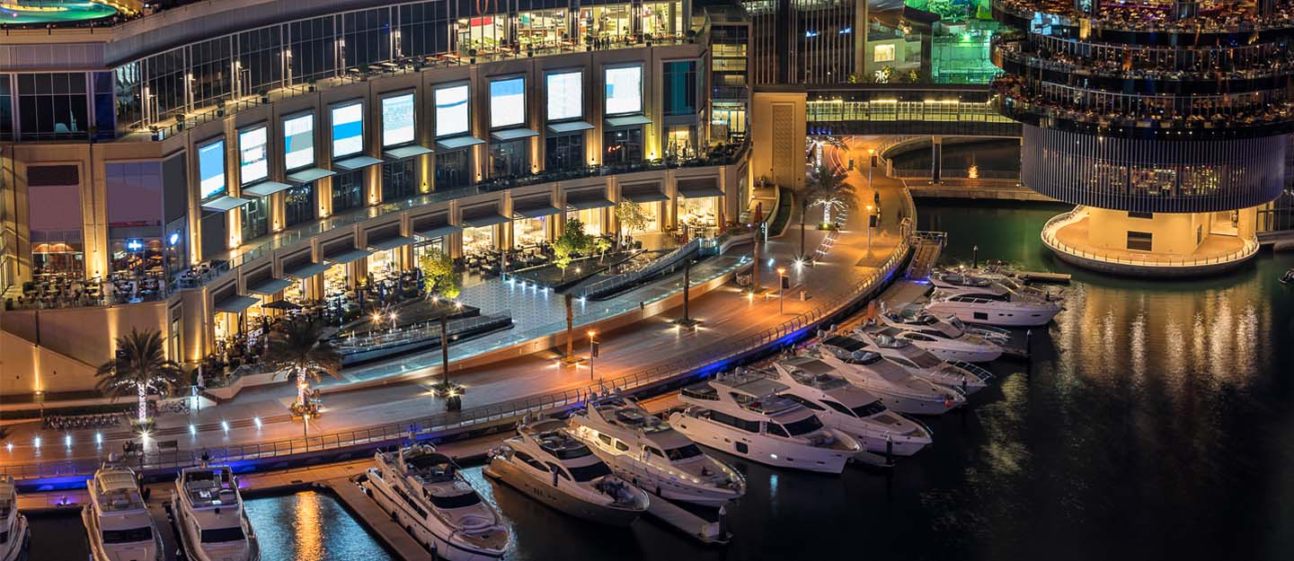 Dubai Marina Mall offers a range of casual and formal dining restaurants within its premises