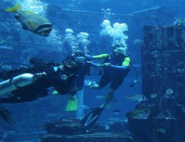Scuba divers at Lost World of Atlantis