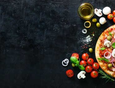 Pizza top shot with toppings