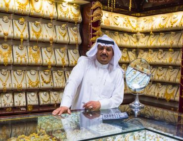 A display of gold ornaments at a shop in Gold souk Dubai