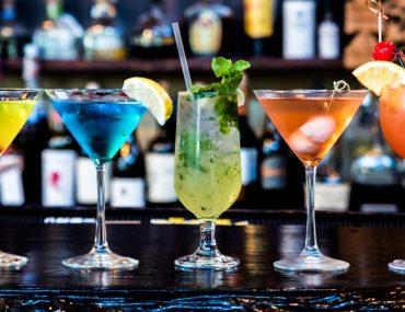 A variety of drinks in a Dubai bar