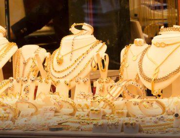 gold jewellery on display