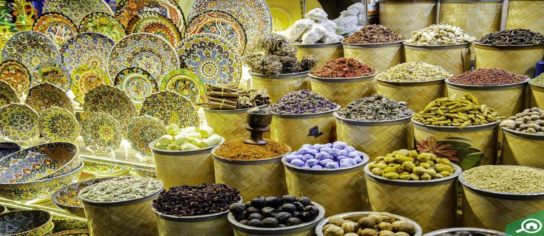 Spices including saffron at Dubai Spice Souk