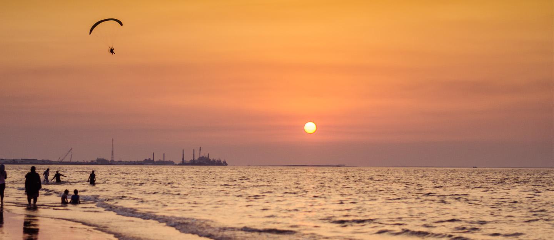 A beautiful sunset on a beach
