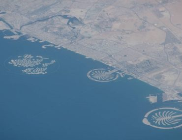 View of Palm Jumeirah, one of landmarks visible from space
