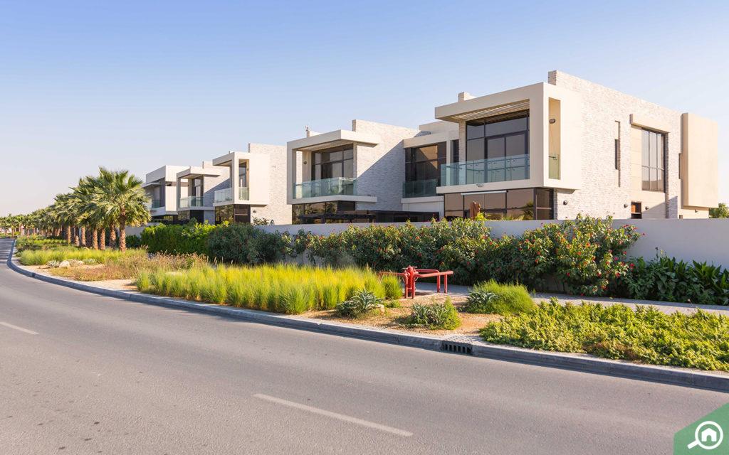 Street view of DAMAC Hills villas for sale