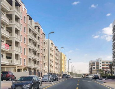 Street view of apartments for rent in DIP Dubai