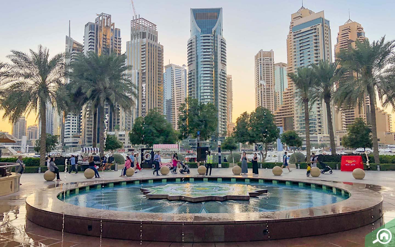 View of Fountain on Dubai Marina Walk Emaar