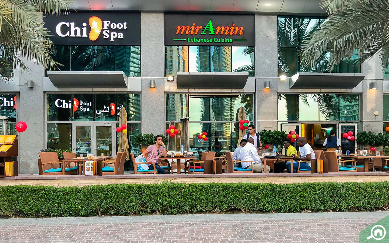 View of Chi Foot Spa on Dubai Marina Walk