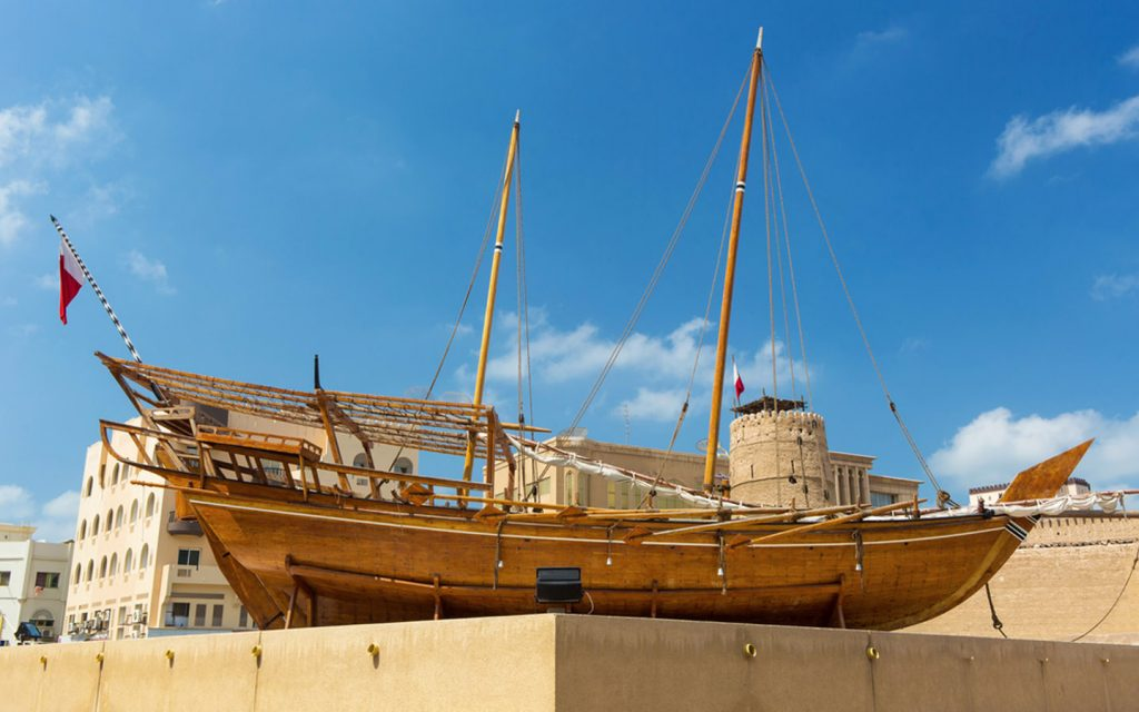 Dhow placed at a town square in UAE