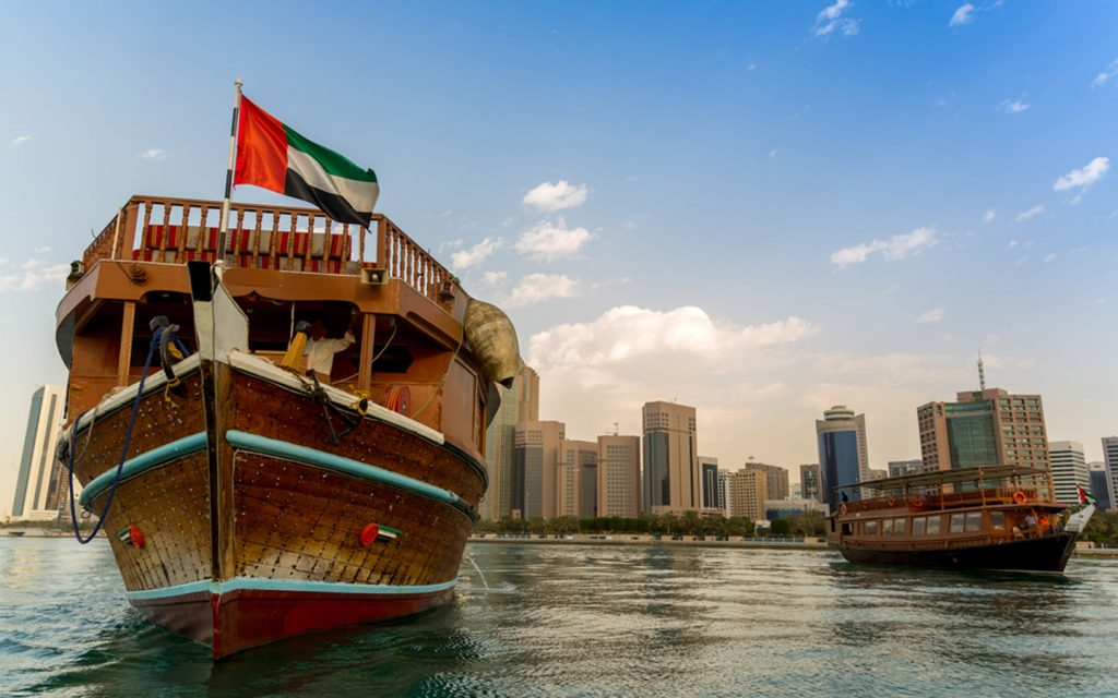 A huge dhow cruising near the shores of Abu Dhabi