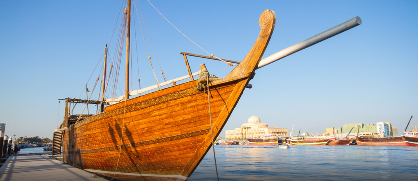 Image of a dhow at the harbour created at Ajman Dhow building Yard