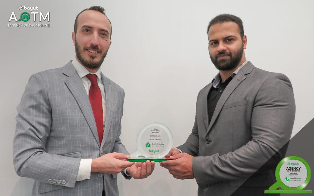 Saleem Bahrooz (right) from Diamond Key Properties, best real estate agency in Abu Dhabi, with Bayut Team Member