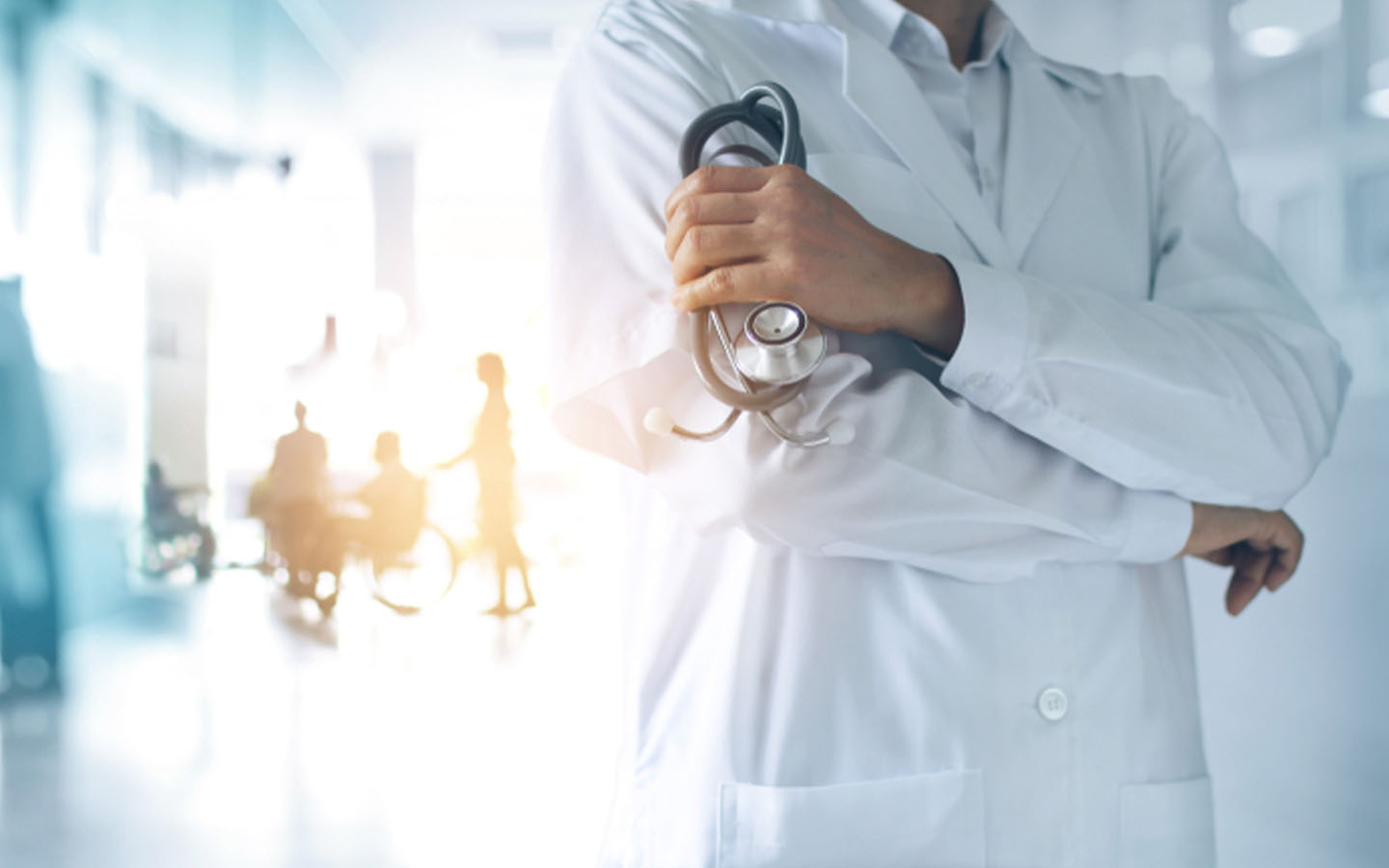 Doctor holding a stethoscopes in a hospital