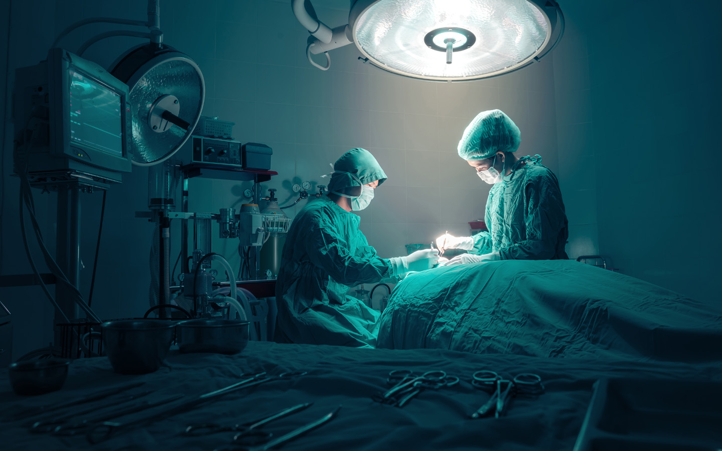 Doctors in an operating room at Government Hospital in Sharjah