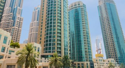 View of apartment buildings in Downtown Dubai