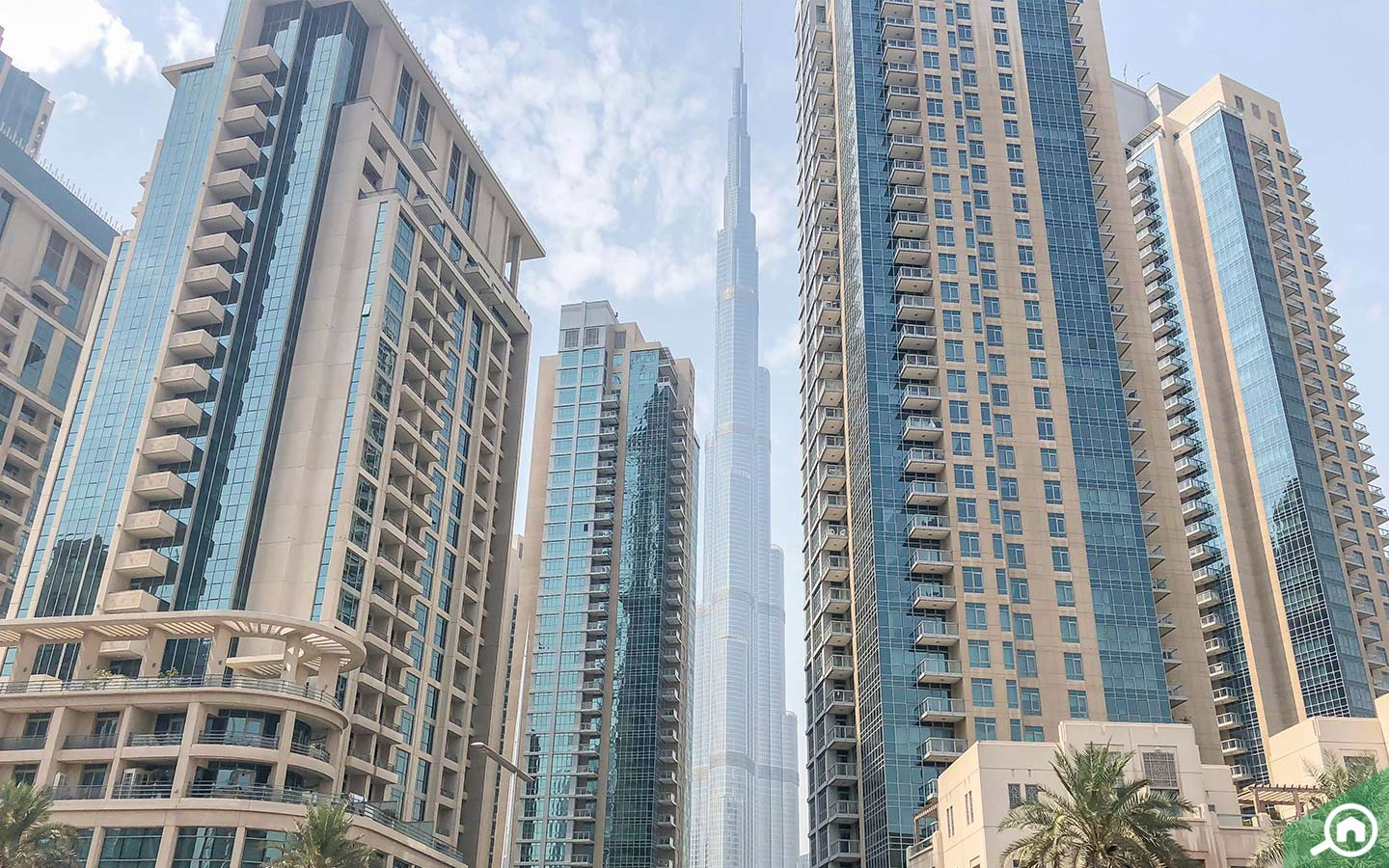 Downtown Dubai apartment buildings with Burj Khalifa in the background
