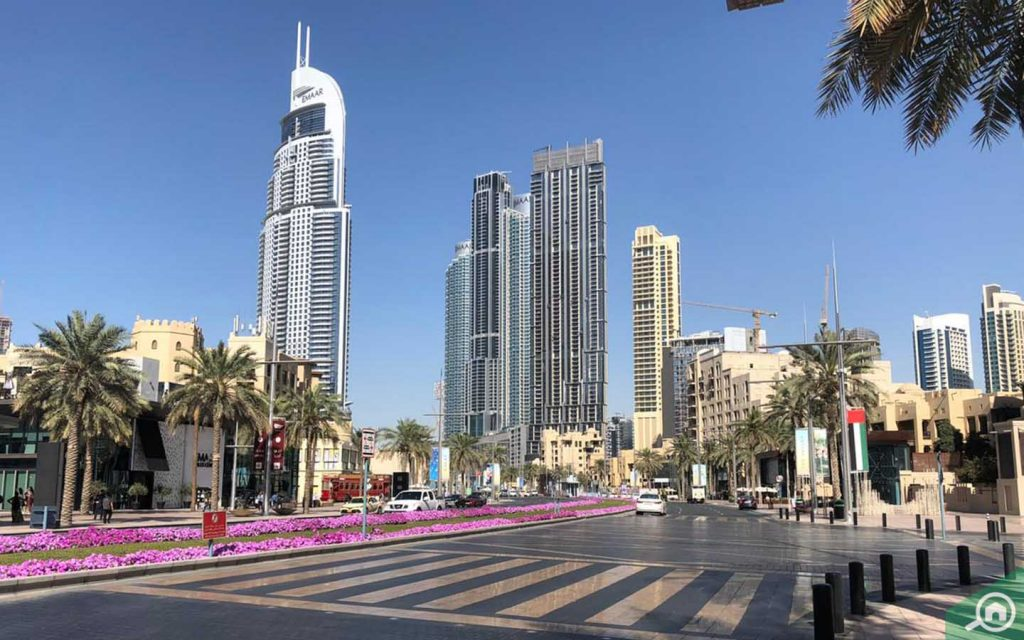 View of hotels in Downtown Dubai, which will also benefit from the new stimulus packages in the UAE