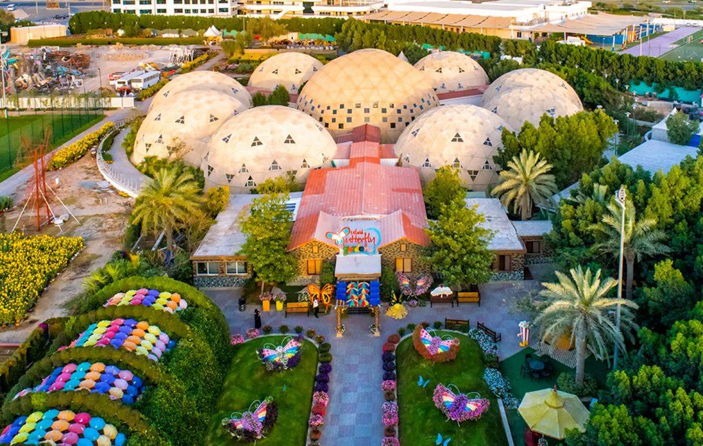 overhead view of the Dubai Butterfly Garden