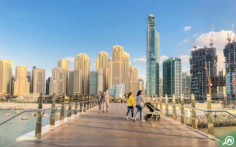 Dubai's skyline consists of many skyscrapers