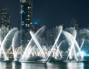 View of Dubai Fountain, which is one of the best places to visit at night in Dubai