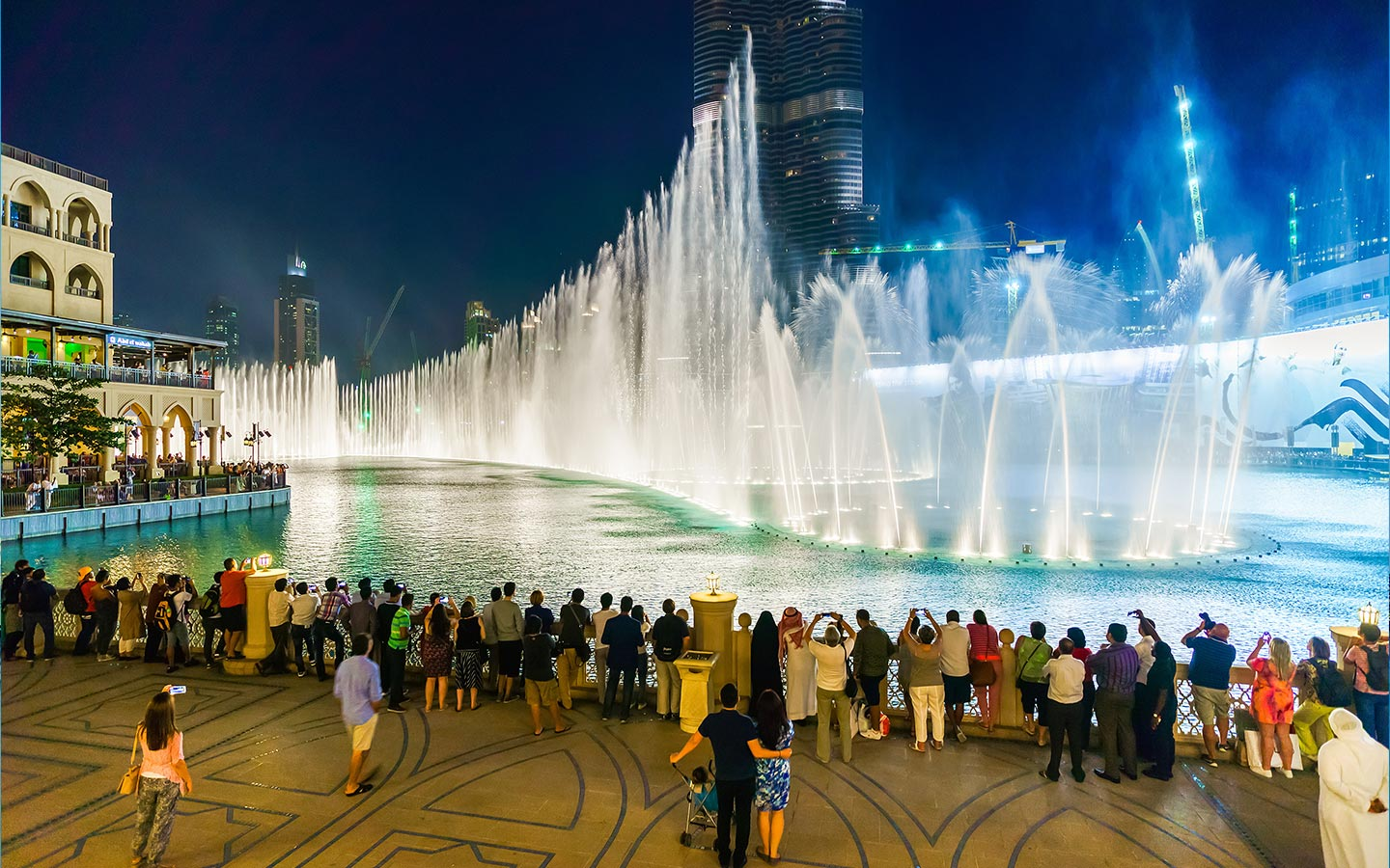 Dubai Fountain in evening