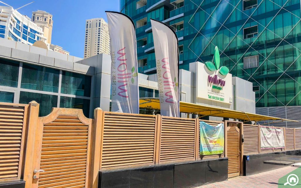 Entrance to Willow Nursery, which is nearby to the many apartments for rent in Dubai Marina