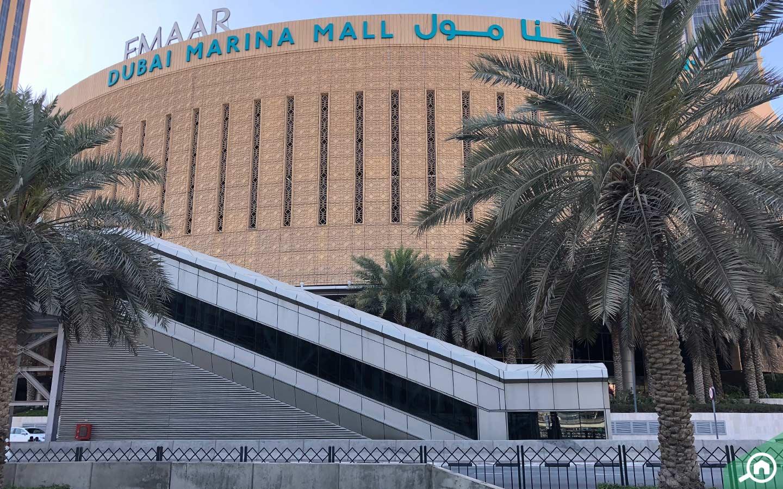 Dubai Tram walkway in front of Dubai Marina Mall