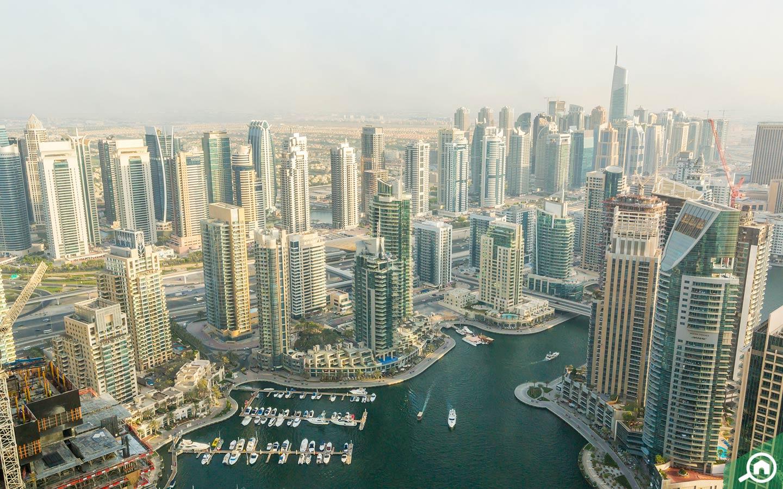 View of towers and Dubai Marina walk