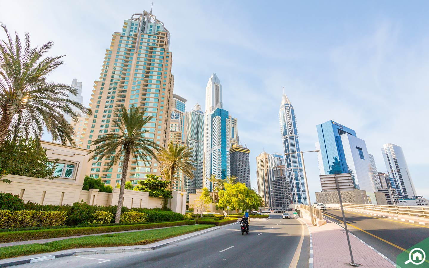 View of residential towers in Dubai Marina