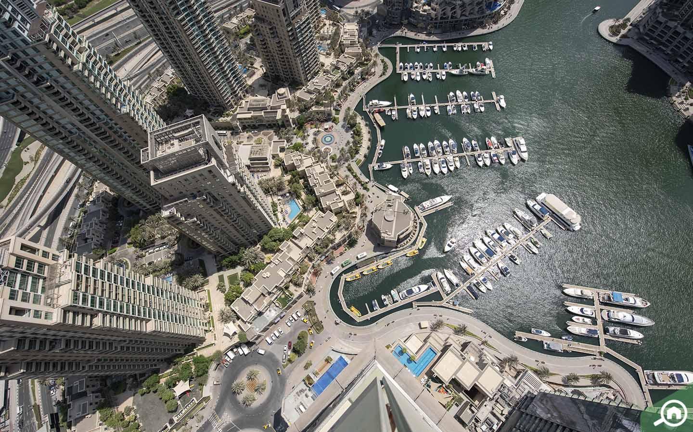Aerial View of the Dubai Marina Walk