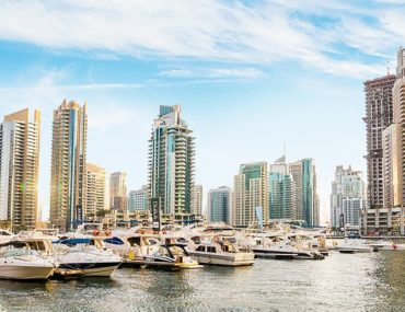 View of the yachts and buildings in Dubai Marina