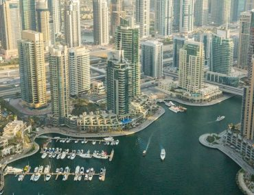 Aerial view of buildings in Dubai Marina