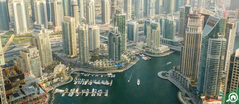 Aerial view of buildings in Dubai Marina