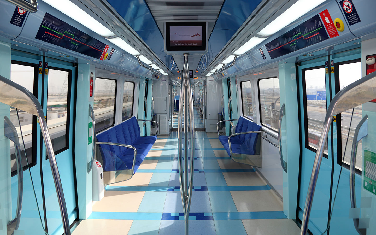 Inside view of the Metro Cabin in the Dubai Metro