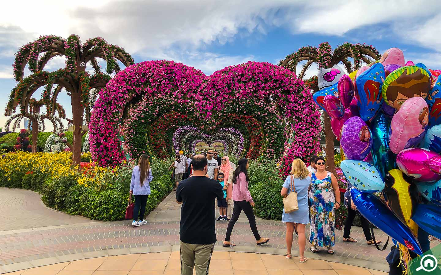 Heart shaped archways in Dubai Miracle Garden, one of the best spots for photoshoot in Dubai