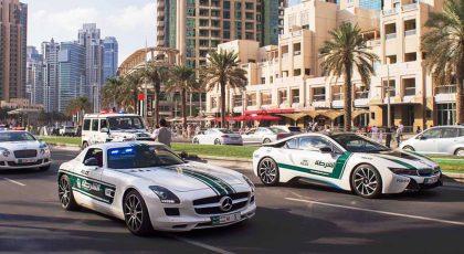 Dubai Police sports cars collection during a car parade