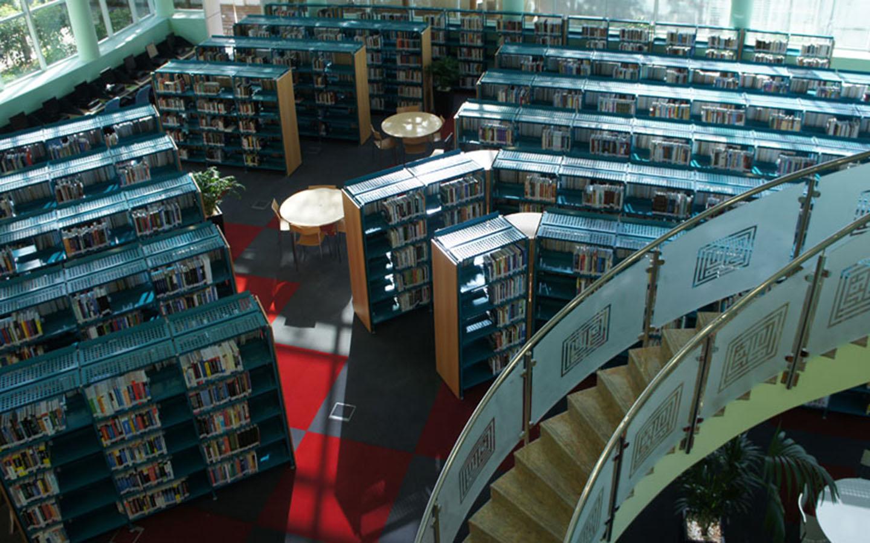 View of book shelves in Dubai Public Libraries