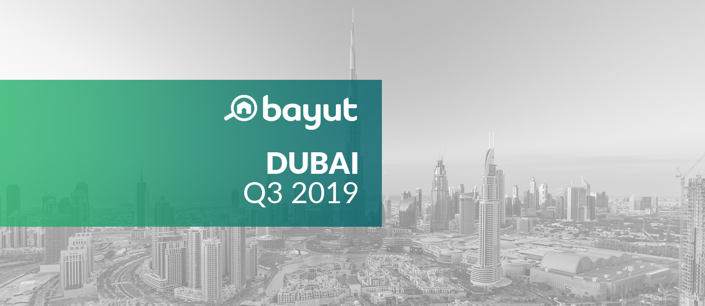 Cover for Bayut's Q3 2019 market report on property prices in Dubai