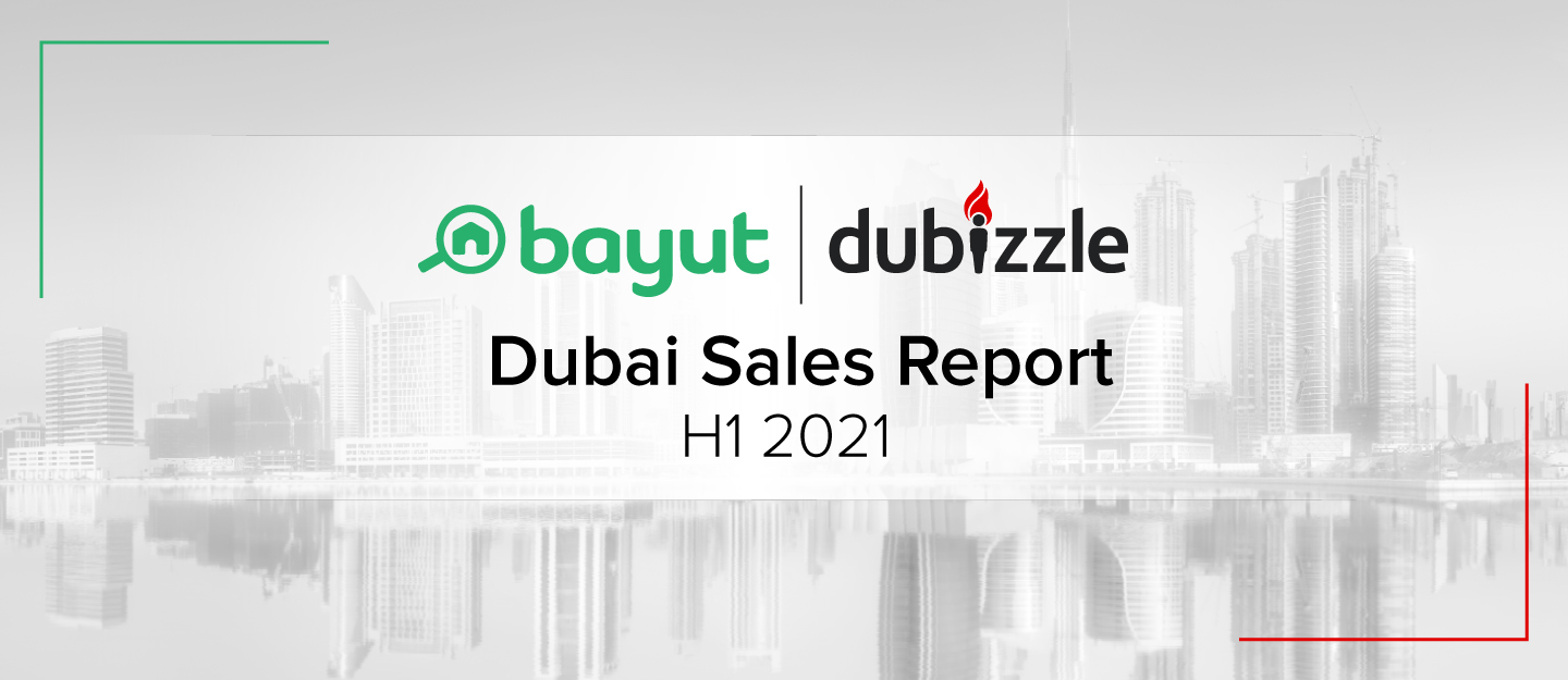 Cover for H1 2021 report on property prices in Dubai