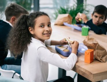 A Muslim girl in a classroom