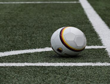 A football placed for a corner kick
