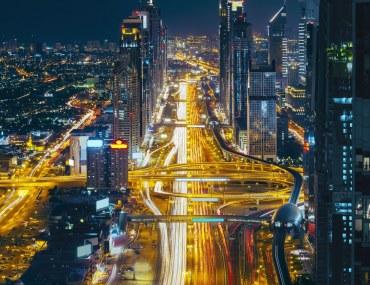 Dubai's Sheikh Zayed Road at night.