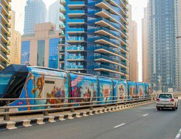 Dubai Tram going over the bridge