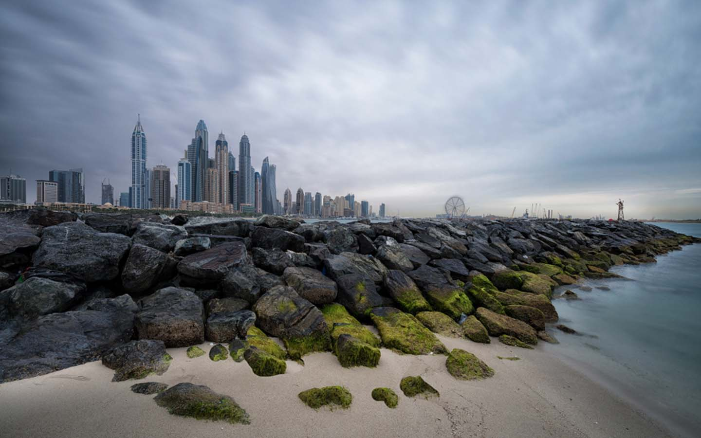 Dubai shore and skyline with cloud cover