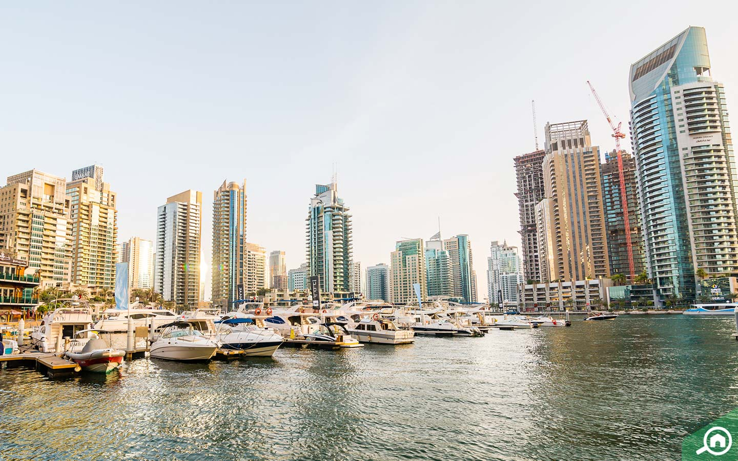 View of buildings and marina in Dubai Marina