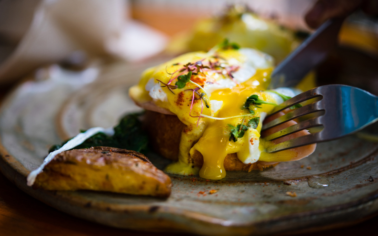 Eggs Benedict at the best breakfast places in Sharjah