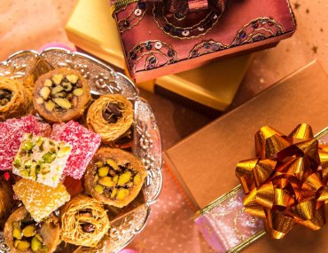 Sweets, gifts, and Eid decorations