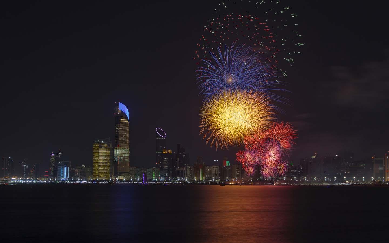 Eid Fireworks across Abu Dhabi skyline